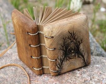 Unique Wedding Guest Book rustic journal with trees of life with leather tie closure wooden guestbook bridal shower engagement anniversary