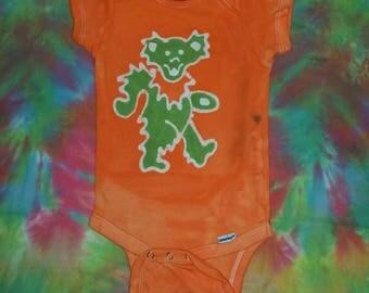 The Grateful Dead Baby Onesie Dancing Bear Batik READY to SHIP SALE