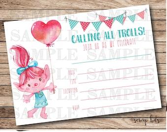 Trolls Birthday Invitation, Poppy Trolls Invitation, Printable Trolls Party Invitation, Instant Download