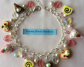 Kawaii Cakes & Beads Silver Charm Bracelet with Lobster Clasp, Cakes and Beads Silver Charm Bracelet, Mini Cake Bracelet, Statement Jewelry