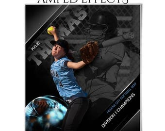 50% Off - Photoshop Template | Amped Effects | Sports Poster | HIGH GLOSS Baseball/Softball - (1) Vertical 8x10, Digital .PSD file.