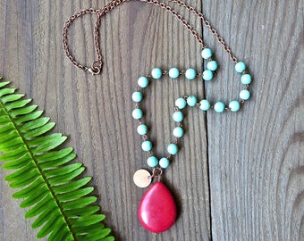 Red & Turquoise Beaded Boho Necklace