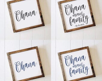 Ohana Means Family, Lilo & Stitch, Disney quotes, HAND PAINTED, Farmhouse, Rustic, 10x10 Wood Sign