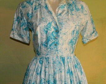 S 50s 60s Julie Miller Blue and White Floral Print Dress Large Rhinestone Buttons Shirtwaist Full Skirt Betty Draper Mad Men Made in the USA