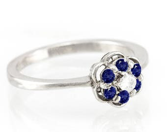 Vintage Engagement Ring, 14K / 18K Gold Flower Diamond and Sapphire Engagement Ring, September Birthstone Engagement Ring, Free Shipping