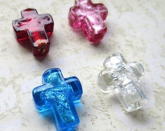 Venetian glass beads crosses four red blue white pink silver