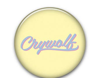 """Crywolf Text Yellow 1.25"""" Button"""