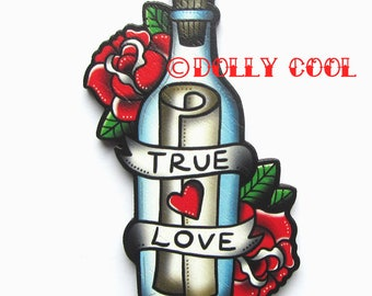 Message in a Bottle True Love Brooch by Dolly Cool Retro Vintage 50s Valentine Style Wooden Tattoo inspired Novelty Pin