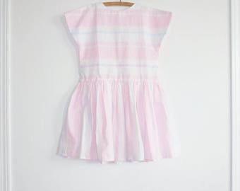 SALE // Vintage Pastel Stripe Girls Dress
