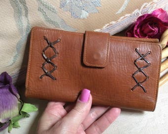 Vintage rustic leather wallet clutch coin purse, made Haiti top grain cowhide leather wallet checkbook cover, coin purse checkbook clutch