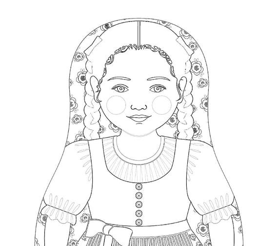 Austrian Girl Matryoshka Coloring Sheet Printable file