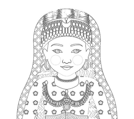 Assyrian Girl Matryoshka Coloring Sheet Printable file