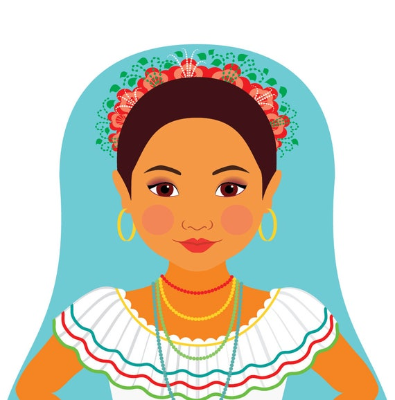 Nicaraguan Doll Art Print with traditional folk dress, matryoshka