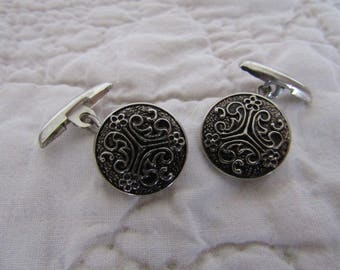 Vintage Cuff links silver tone Button Style