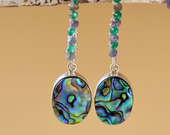 Abalone Shell Silver Earrings. Sterling Silver Earrings.  Green Onyx, Iolite. Silversmith Jewelry. Paua Shell Hoops. Fine Jewelry.