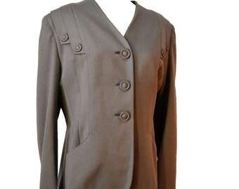 40s Jacket Ecru Wool Blazer Costume Sz M to Sz L