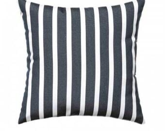 Sunbrella Shore Classic Outdoor Throw Pillow, 58033-0000, sunbrella pillow, outdoor pillow, Black stripe pillow, sunbrella stripe pillow,