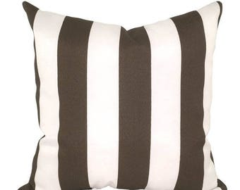 Brown Stripe STUFFED Outdoor Pillow, Bay Brown and White Stripe Pillow, Brown Deck Pillo, Stripe Accent Pillow - Free Shipping