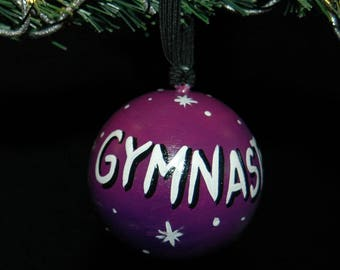 Gymnastics - Hand Painted Ornament - Personalized - Solid Wood
