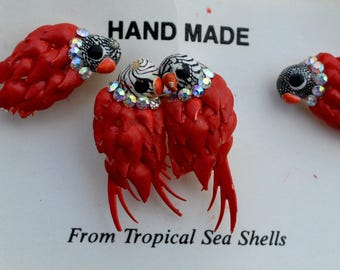 Parrot Earrings, Earring Brooch Set, Red Parrots, Beach Jewelry, Tropical Jewelry, Sea Shells, Vintage Jewelry, 1950s Jewelry, Gift for Her,