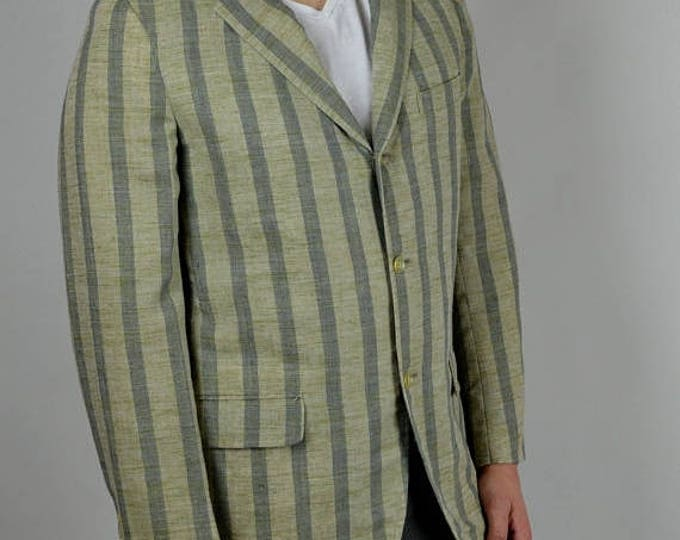 sale Men's Sport Coat, Men's Blazer, Linen Sport Coat, Stripped Sport Coat, Vintage Sport Coat, 20s Style, 1920s Style, Spring Summer Sport