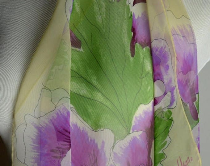 sale Vintage Scarf, Vera Neumann, Vera Scarf, Nylon Scarf, Iris Flower, Square Scarf, Sheer Scarf, Purse Scarf, Neck Scarf, Ponytail Scarf