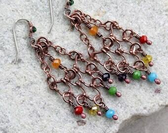 Rainbow Beaded Link Chandelier Earrings, Wire Wrapped, Boho, Canada, Handmade, Oxidized Copper, STERLING SILVER EARWIRES