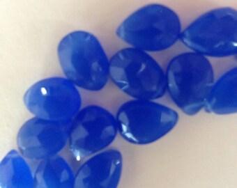Shop Sale.. 3 6 12 20 pcs, CHALCEDONY  Pear Briolettes, 11-12 mm, Large, Cobalt Blue, Faceted, wholesale brides bridal 1112 solo