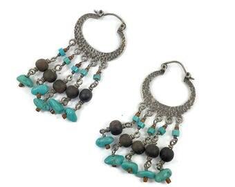 Turquoise Earrings, Sterling Silver, Vintage Earrings, Beaded, Boho Jewelry, Gypsy, Southwestern, Hoops, Statement Earrings