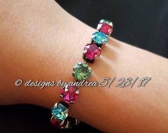 Crystal Bracelet - Turquoise, Fuschia, Erinite Green Swarovski Crystals - 8 mm stone size