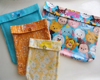 Colorful Tsum Tsum Disney Ouch Pouch Set 4 of Sizes Fish Extender Cruise Gift Clear Pocket First Aid Baby Diapers Wipes Bags Orgainzers
