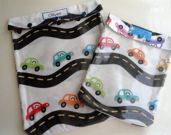 Cars on the Road Clear Front Ouch Pouch 2 Pack (XX Large 8x10 & Large 6x8) Baby Gift Set Diaper Bag Accessories Organizer Personalize