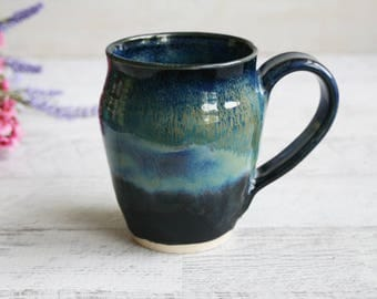 Handmade Stoneware Pottery Mug in Deep Shades of Blue Artful Coffee Cup Ready to Ship Made in USA
