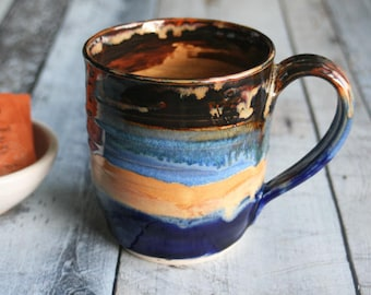 Large 16 oz. Stoneware Mug with Dripping Gold, Brown and Blue Glazes Handmade Stoneware Coffee Cup Made in USA Ready to Ship