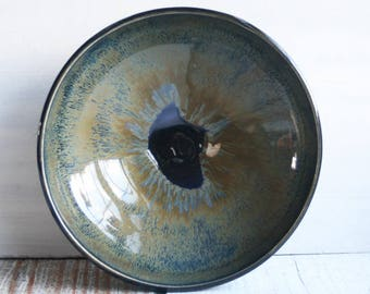 Accent Serving Bowl in Black, Gold and Blue Glazes Handcrafted Stoneware Pottery Bowls Made in USA Ready to Ship