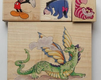 3 Characters and Dragon Rubber Stamp set Mickey Mouse Eeyore and Cheshire Cat