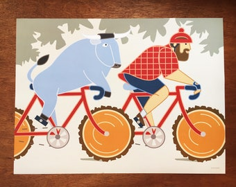 "Paul Bunyan and Babe the Blue Ox Ride Bikes, 18x 24"" poster"