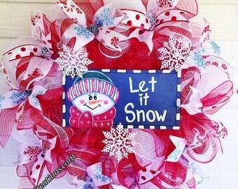 SALE- Let It Snow Snowman with Pine Cones Door Wreath!