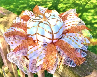 White Gold Pumpkin - Fall Thanksgiving Centerpiece