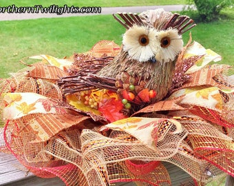 SALE - Fall Leaves Owl - Fall Halloween Thanksgiving Centerpiece