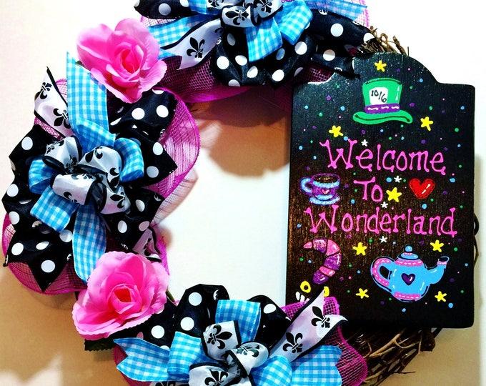 FREE SHIPPING Welcome to Wonderland - Welcome Door Wreath