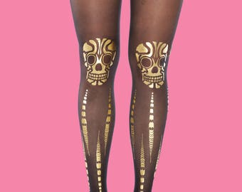 Skulls tights, gold print, burning man costume available in S-M, L-XL