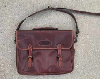 The Vintage Brown Leather Dakota by FRANKLIN QUEST Made in Britain Leather Briefcase