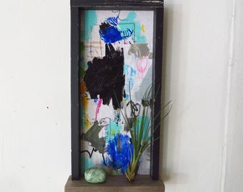 Abstract Painting Original, Framed with Shelf