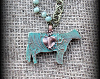 "Dairy Cow, Holstein Livestock Jewelry Kiln Fired Pottery Pendant, Copper Chain, Leather & Gemstone Beads  Necklace, Approx 29"" (end to end)"