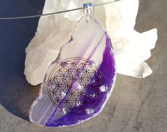 Seed of Life Necklace  Intuition and calm Sacred Geometry Pendant Agate Reiki Healing Energy Crystal Grid Flower of Life Pendant Mandala