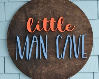 "Toy Room Little Man Cave Wall Art 24"" Round Wood Sign - Custom Wood Art - Wall Hanging - Toy Room Decor - Kids Bedroom decor"