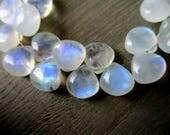 Rainbow Moonstone smooth heart briolette- 8x8mm- 2 Pairs- very good flash