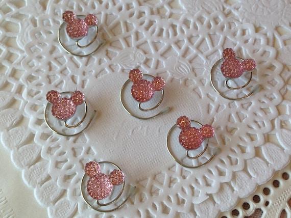 6 Minnie MOUSE EARS Hair Swirls-Disney Wedding-Baby Pink Cinderella Gift- Hair Coils-Hidden Mickeys