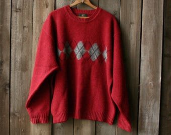Vintage Red Wool Sweater With Argile Pattern in Grey Mens Crew Neck From Nowvintage on Etsy
